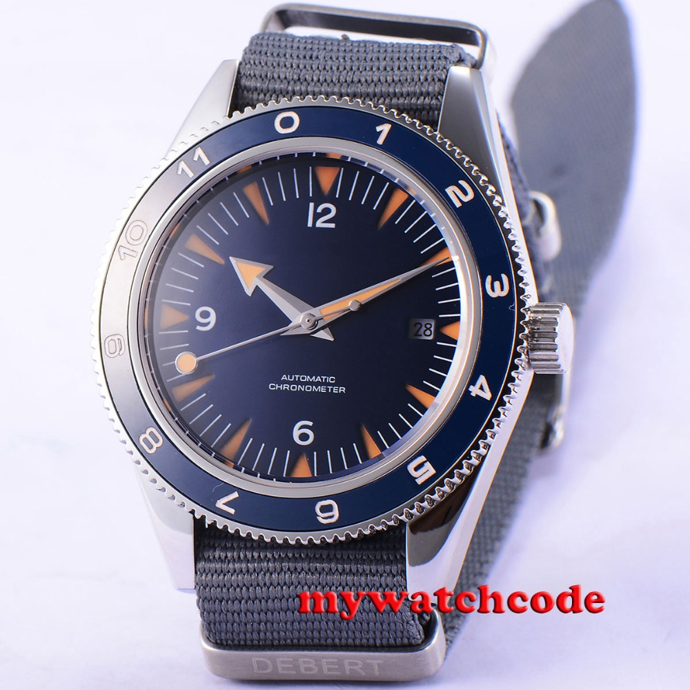 41mm debert blue sterile dial sapphire glass miyota Automatic mens Watch D86 цена и фото