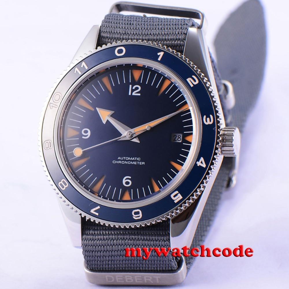 41mm debert blue sterile dial sapphire glass miyota Automatic mens Watch D86