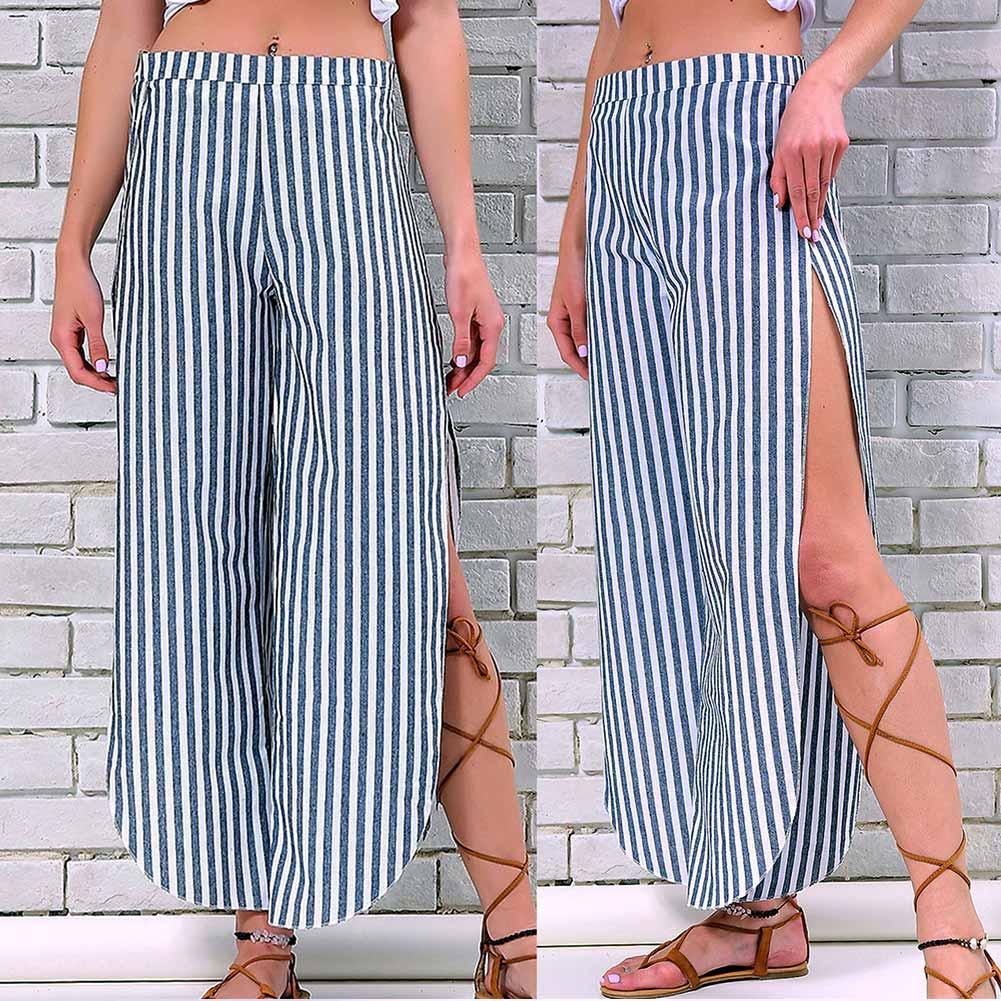 Summer Women Wide Leg Pants Striped Split Tie Bow Loose Casual Lady Trousers -MX8