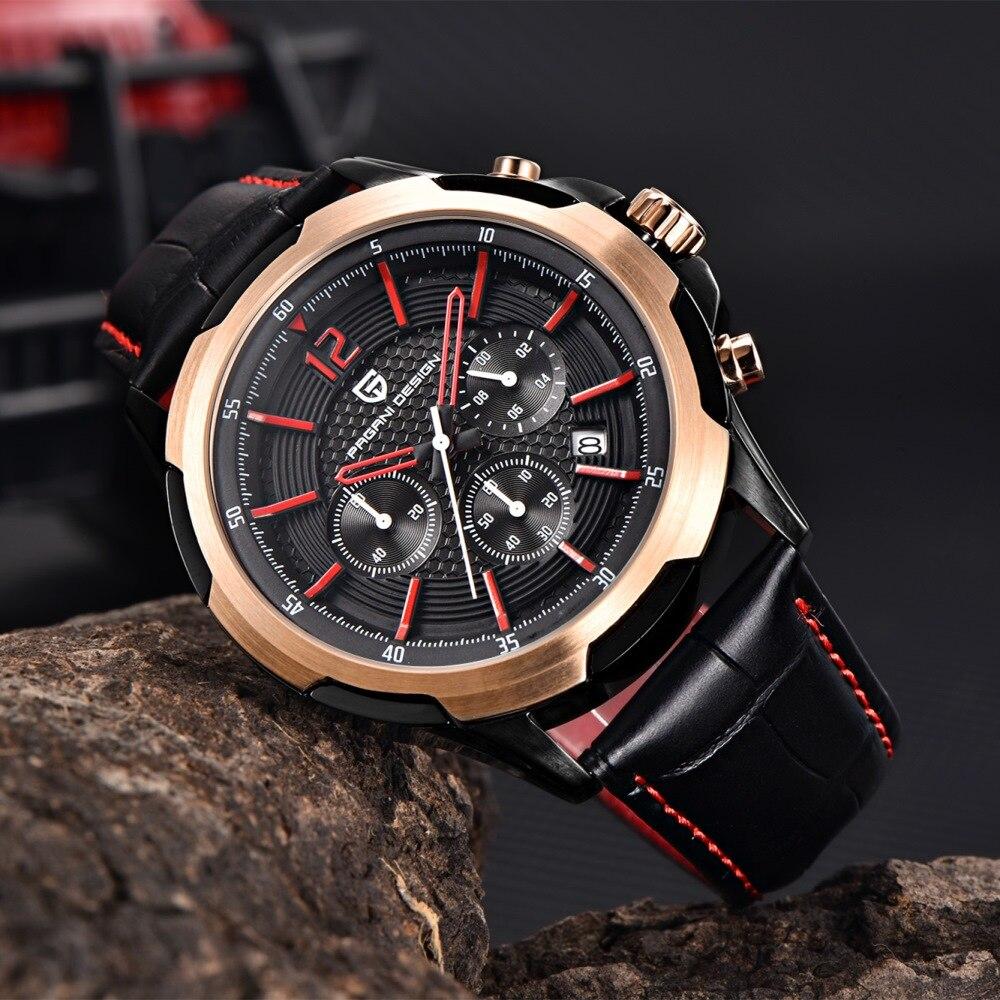 ФОТО PAGANI DESIGN Fashion Waterproof Chronograph Sport mens watches top brand luxury genuine leather Quartz Watche Relogio Masculino