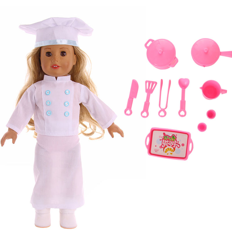 LUCKDOLL Chef Uniform + Chef Utensils Fit 18Inch American 43cm BabyDoll Clothes Accessories,Girls Toys,Generation,Birthday Gift
