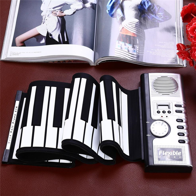 Portable 61 Keys Roll-up Keyboard Flexible 61 Keys Silicone MIDI Digital Soft Keyboard Piano Flexible Electronic Roll Up Piano