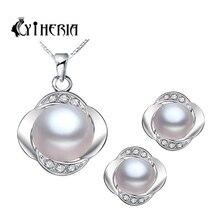 CYTHERIA esterlina 925 joyería de plata del pendiente/collar de la joyería de la perla para las mujeres de plata de ley-con sistemas de la joyería caja de regalo