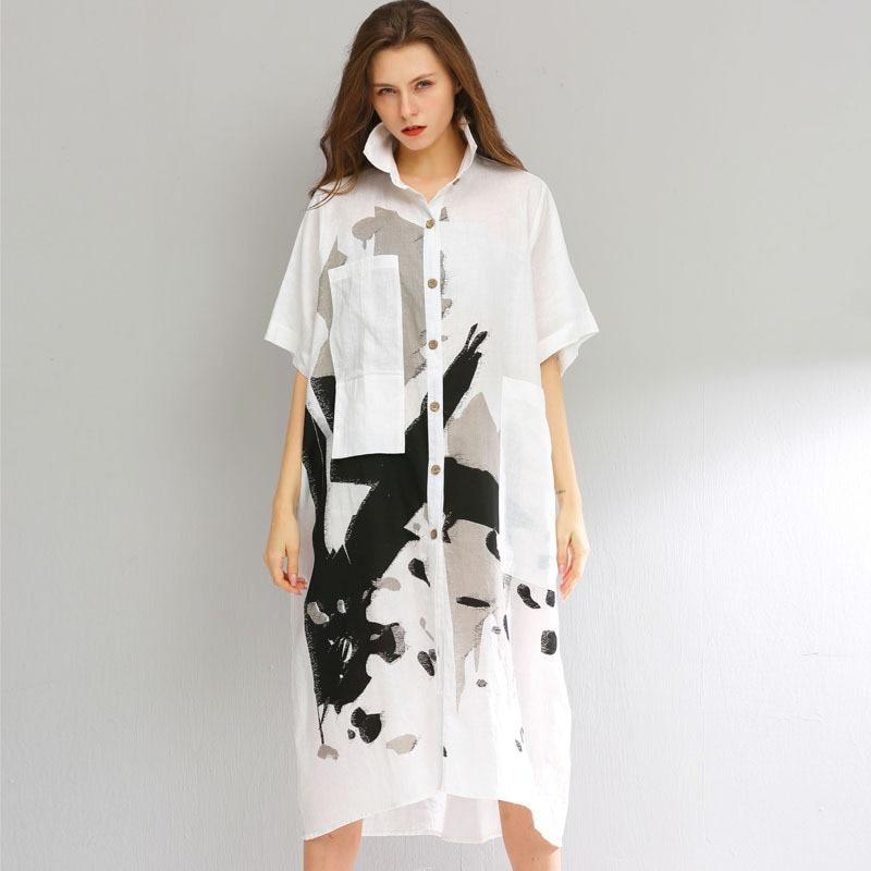 LANMREM 2019 vêtements d'été pour femmes à manches courtes lâche décontracté grande taille personnalité impression chemise robe avec poches YH260
