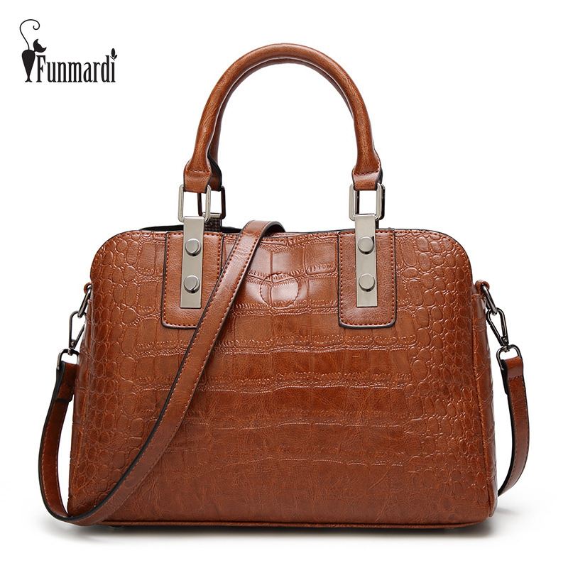 FUNMARDI Luxury Crocodile Women Handbags Metal Reinforce PU Leather Bags Fashion Top-Handle Bags High Quality Totes Bag WLHB1731