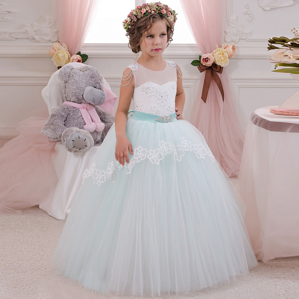 ФОТО Light Green Flower Girls Dresses for Party and Wedding Bow Sash Sleeveless Patchwork O Neck Ball Gown Princess Pageant Dress