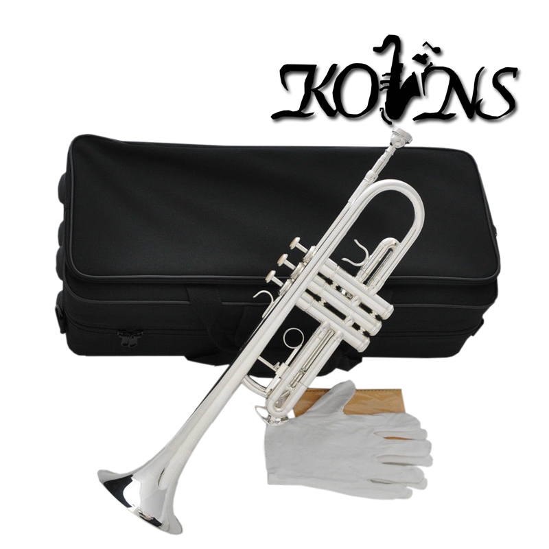 Top New Silver Plated  C Key Trumpet with Cupronickel Tuning pipe horn With Case professional new silver plated trumpet bb keys with monel valves horn case