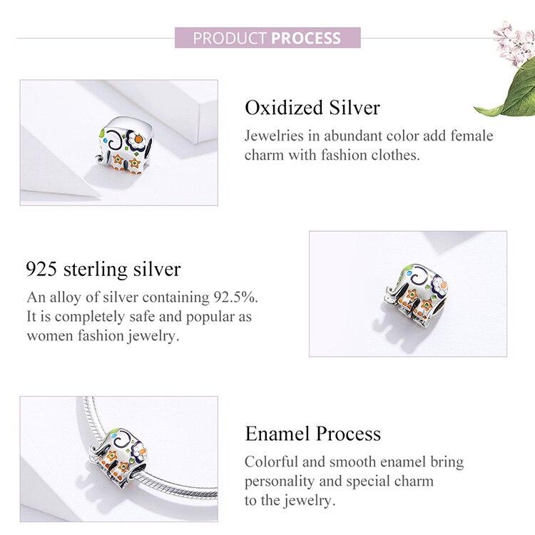 HTB1hgFYXlr0gK0jSZFnq6zRRXXaC WOSTU Colorful Happy Elephant Beads Genuine 925 Sterling Silver Charms Fit Original Bracelet Pendant Jewelry Gift CTC095