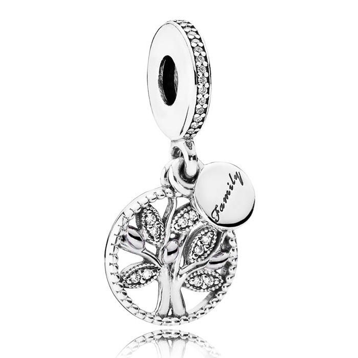 925 Sterling Silver Bead Charm Family Heritage Tree Of Life With Crystal Pendant Beads Fit Pandora Bracelet Diy Jewelry