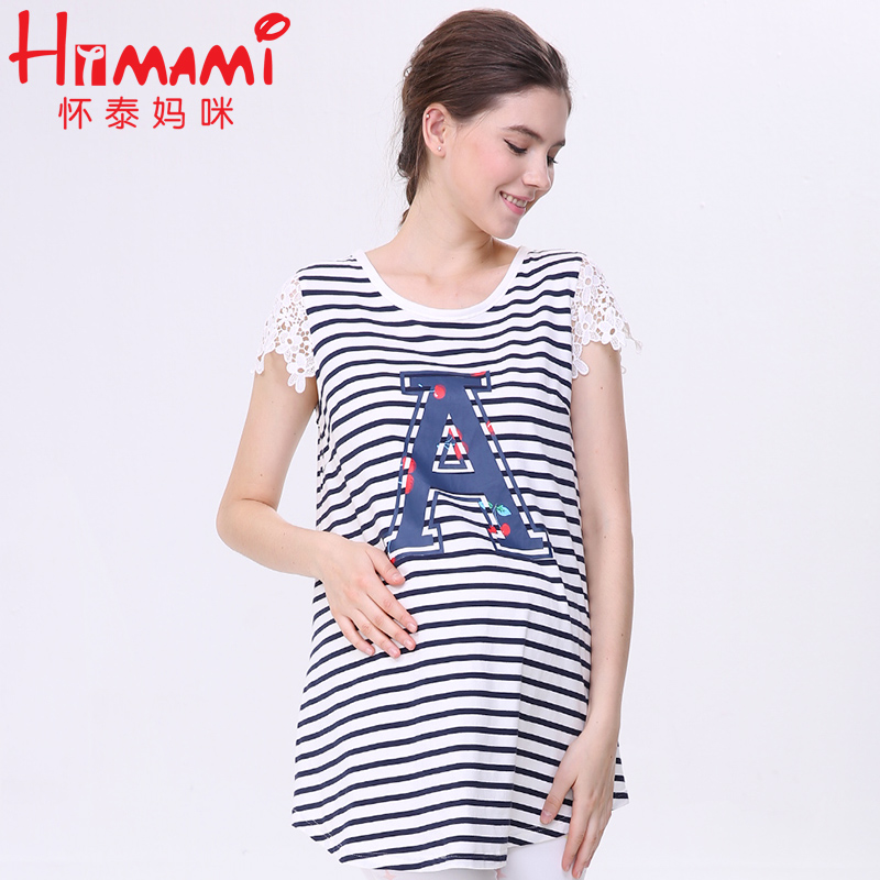 8a48d539c3e29 Summer Stripe Cotton Nursing Top T shirt Pregnancy Clothes for Pregnant  Women Breastfeeding Tops Clothing for Feeding