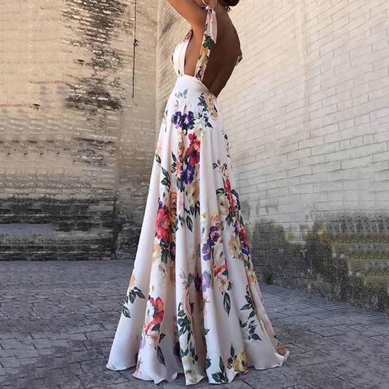 女性夏自由奔放に生きる背中セクシーなビーチマキシドレスエレガントなローブ花柄サンドレスホリデービッグスイング A ラインのホワイトロングドレス