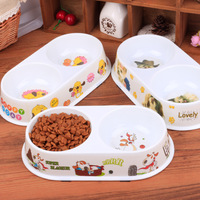 1pc Dog Bowl Cartoon Printed Melamine Double Bowls Anti Skid Pet Cat Food Water Bowl Pet