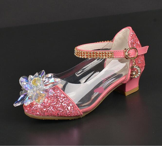 2019 Fashion Cinderella Crystal Bright Diamond Shoes Girl Princess Single Shoes Girl Performance High Heels