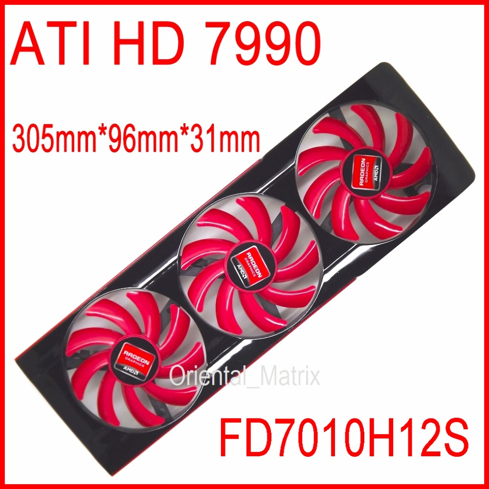 Free Shipping NTK FD7010H12S DC 12V 0.35A For AMD ATI HD 7990 Video Card VGA Fan HD7990 Graphics Card Fan 4 Wire Cooling Fan free shipping for avc baaa0705r5hpoff dc 5v 0 40a 4 wire 4 pin connector server cooling square fan