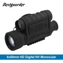 6×50 мм HD цифровой охота ночное видение Монокуляр gps ЖК дисплей Инфракрасный ИК телескоп 5mp область ночь прицел для животные