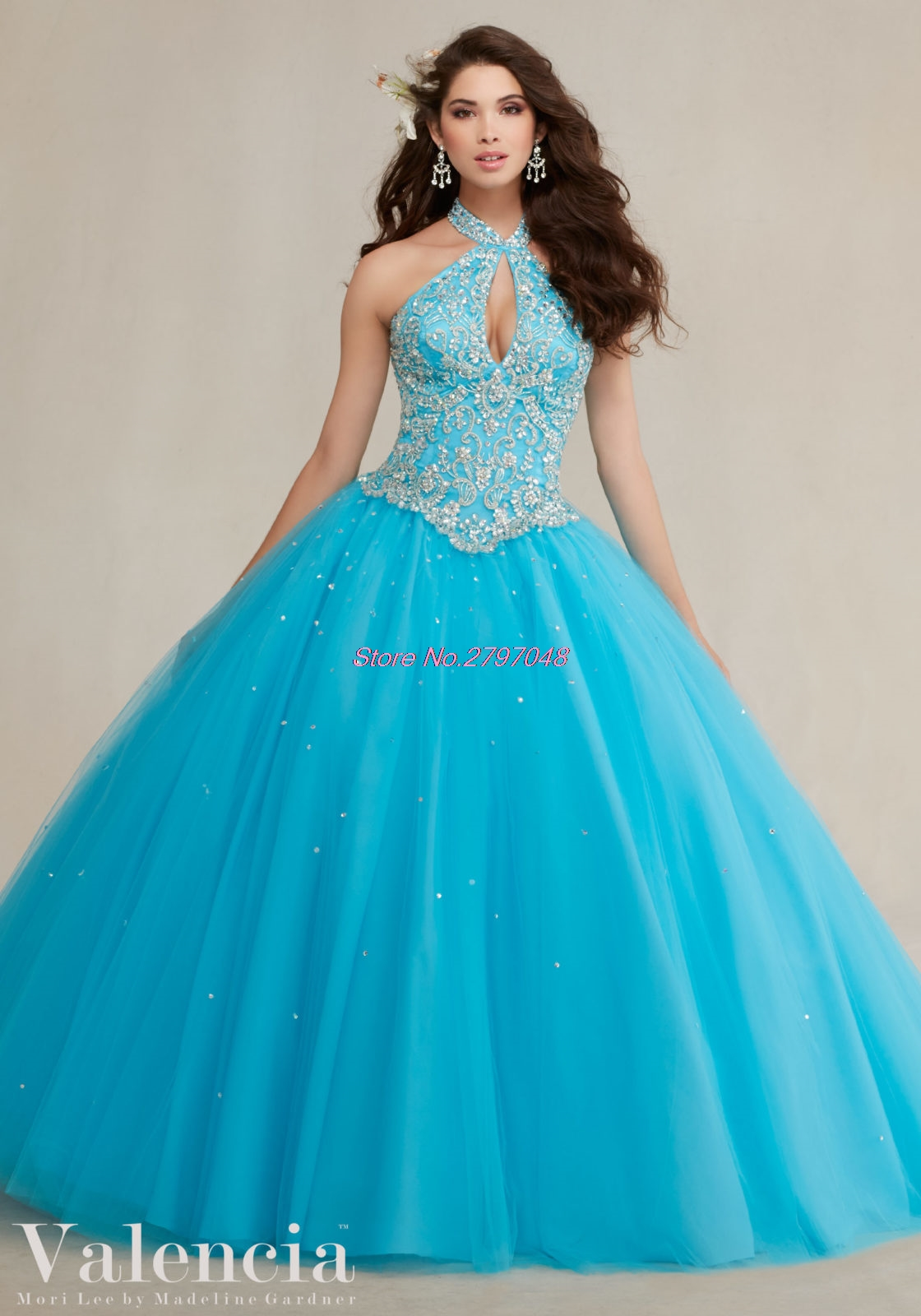 2017 Coral Blue Pink Party Quinceanera Dresses 15 Years Halter ...