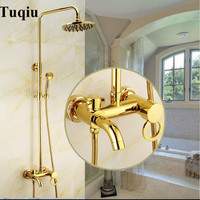 Europe style luxury bath and shower faucet brass gold finished wall mounted shower faucet set with rainfall shower head