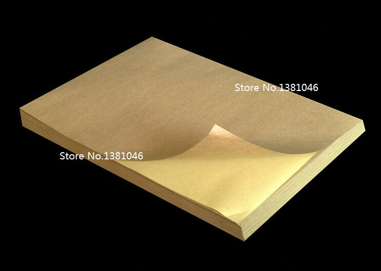 Brown Kraft A4 Self Adhesive Printable Sticky Label Tag Sticker For Inkjet Printer 5 To 15 Sheets