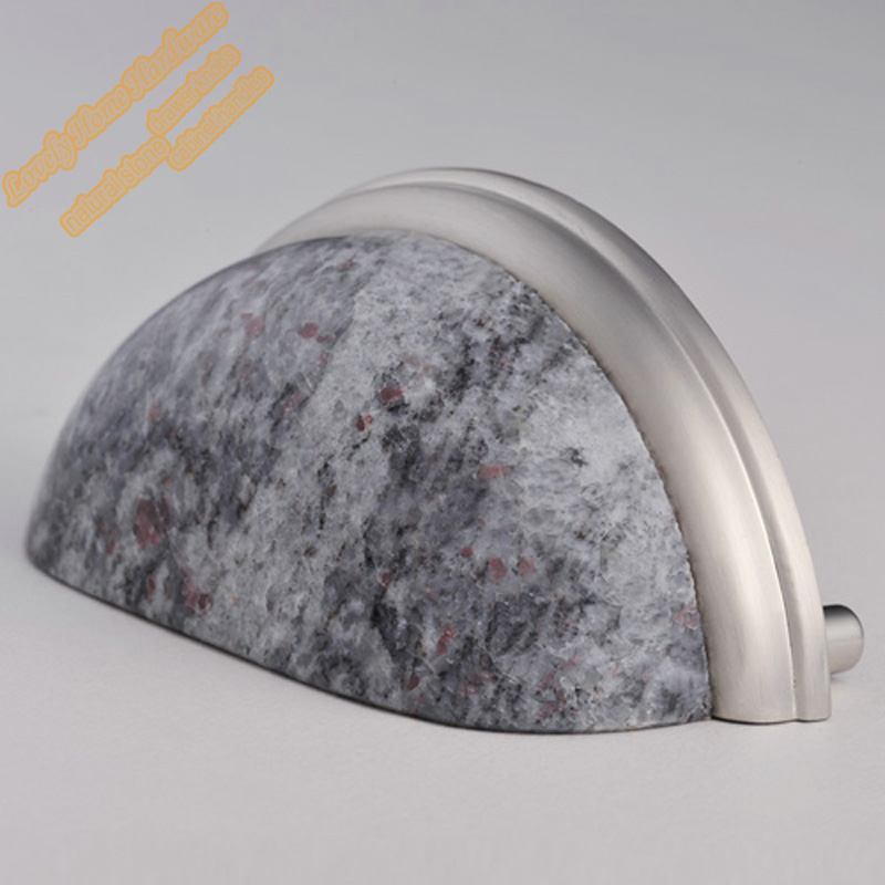 76mm Granite Zinc Alloy Cabinet Hardware,Indian Blue Cup Pull Drawer Pulls  Kitchen Cupboards Handles