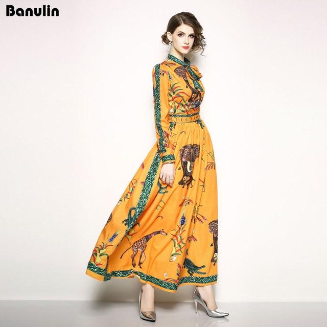 Runway Designer Maxi Dress Womens Elegant Beach Vacation Animal Printing Long Dress Bow Collar Floor Length Party Dresses