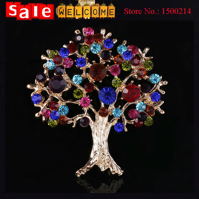 2015 Full Crystal Tree Brooch for Weddings Party Evening,Imitation Diamond Colorful Golden Silver Plated Rhinestone Big Brooch