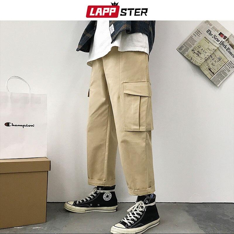 LAPPSTER Streetwear Cargo Pants Men 2019 Man Hip Hop Joggers Pants Male Wide Leg Big Pockets Harem Pants Loose Straight Trousers