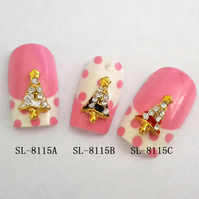 10pcs small nail art for teens glitter metal Christmas tree nail art ...