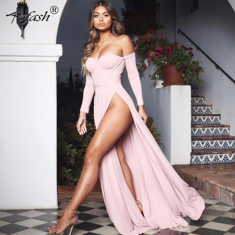 POFASH backless high split dress long 2018 sexy off shoulder maxi dresses wrap around robe longue party dress femme vestidos