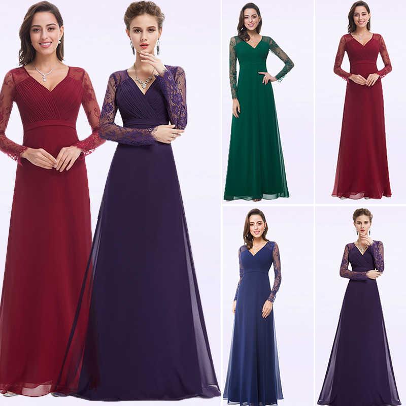 Plus Size Formal Evening Dresses Long 2018 EB22968 Autumn Winter Full Sleeves  Chiffon Lace Robe De 793a79f9b65e
