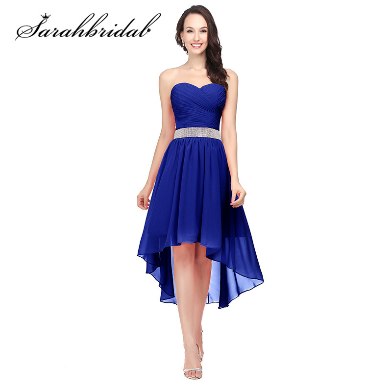 a2edcefebd0 Royal Blue Bridesmaid Dresses High Low Sweetheart Beaded Sash Lace up Back  Cheap Chiffon Modest Wedding Party Gowns CF400