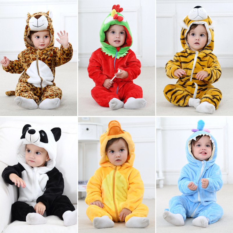 winter Cartoon Hooded Baby Clothes Long sleeve Flannel Baby Boy Clothes Animal Jumpsuit newborn Baby Girls Clothing Pajamas