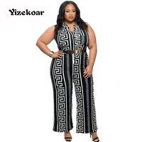 YIZEKOAR Vrouwen Wijde Pijpen Overalls 2017 Lange Broek Outfits Zwart Print Gold Belted Jumpsuit Dames Playsuits LC64021 Hot Koop