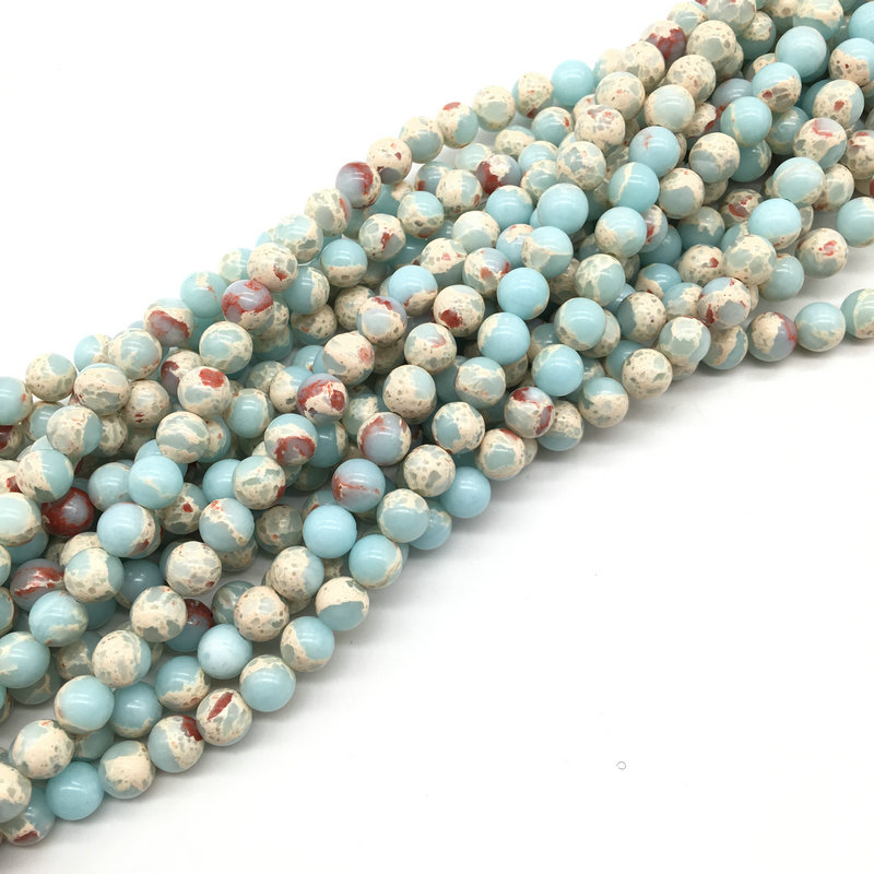 Wholesale 4//6//8mm Natural Light Blue Imperial Jasper Round Loose Spacer Beads