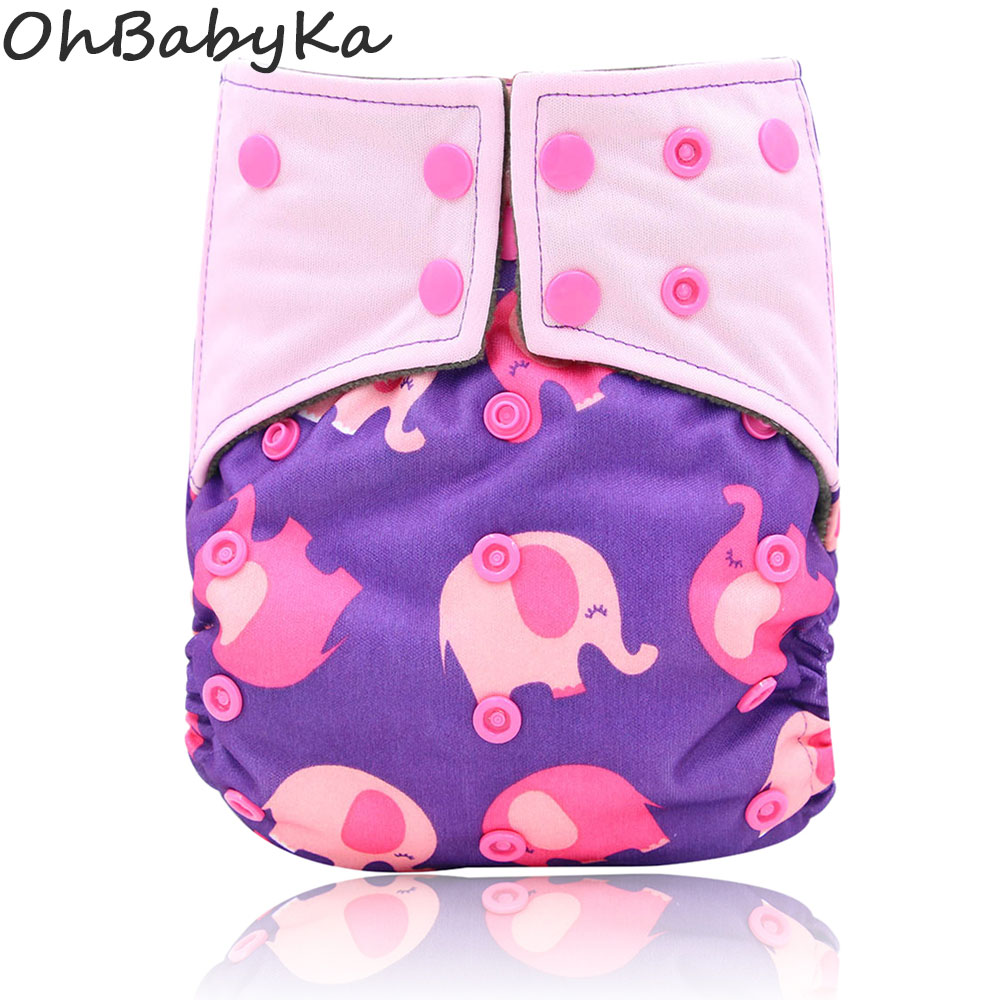 Ohbabyka Cloth Diaper Baby Cover Reusable Newborn Cloth Pocket Diapers Infant Nappy Double Gusset Fralda De Pano All-in-two AI2