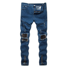 2019 spring and summer new mens hole pleated jeans fashion motorcycle pants thin stretch blue washed