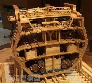 Image 1 - スケール1/48 uss bonhommeリチャードセクション船モデルキット + 高級内部構造装飾モデルキット + 木製の樽