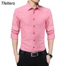 Фотография TFETTERS Plus Size 5XL New Fashion Mens Casual Shirts Long Sleeve Shirt Cotton Turn Down Collar Blouse Men Clothing for Men