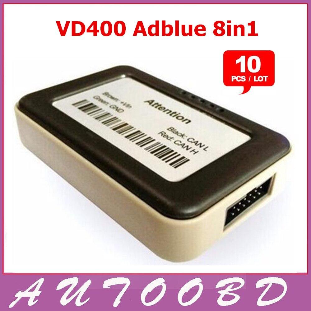ФОТО 10PCS/Lot Quality A++VD400 Adblue Emulator 8 in 1 V4.1 with Nox Sensor Adblue Emulator 8in1 Truck Diagnostic Tool DHL Freeship