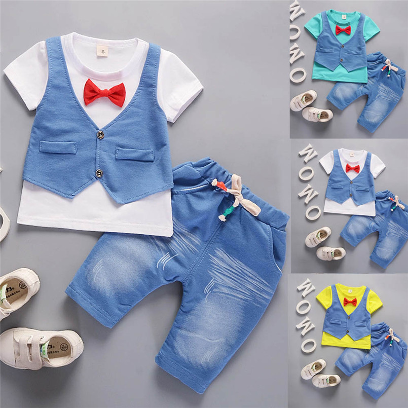 2018 Hot Sale Summer Clothes Set Toddler Kids Baby Boys Outfits Short Sleeve T-shirt+Pants Gentleman Clothes Set ropa nina S ...