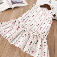 Hurave 2018 New Baby Girl Clothes Summer Sleeveless Dress Kids Clothes Casual Print Carton Crew Neck