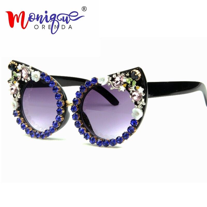 c50c7ea9937fd 2018 Óculos De Sol Das Mulheres Marca De Luxo óculos Shades Borland Rosa  Strass Olhos de
