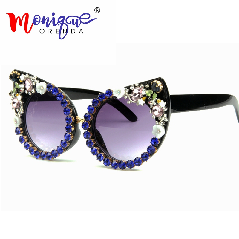 2018 Sunglasses Women Luxury Brand glasses Borland Pink Rhinestone Cat Eyes Sunglasses Vintage Shades for women Eyewear Oculos