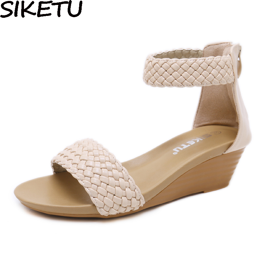 SIKETU 2018 Women Wedge Sandals Weave Knit Ankle Wrap Concise Bohemia Sandals Wedge Med Heel Rome Casual Shoes Gladiator Sandals ladylike women s sandals with bowknot and wedge heel design