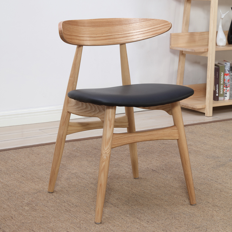 Replica Hans Wegner Ch33 Dining Chair Modern Design Solid Wooden And PU  Seat Popular Dining Chair