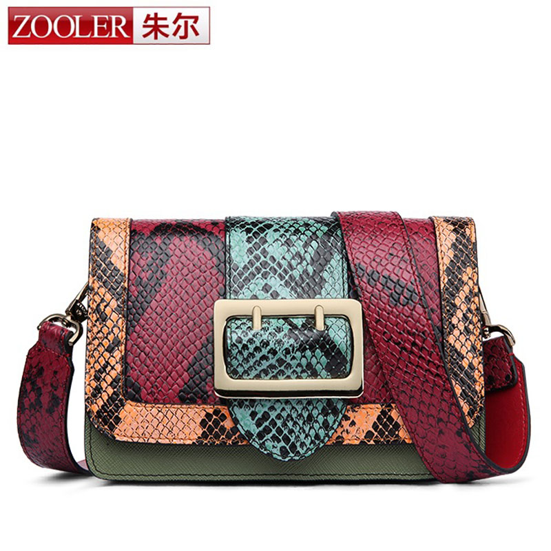 ZOOLER Fashion Colored Cowhide Snap Women Day Clutch Shoulder Bag Small Serpentine Pattern Genuine Leather Cover bolsa feminina zooler women genuine leather shoulder bags fashion leisure cowhide all match small messenger bag ladies casual bolsa feminina