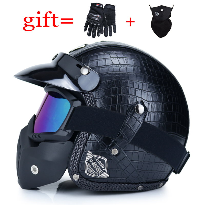 VOSS High quality Leather Harley 3/4 Chopper Bike open face vintage motorcycle helmet with goggle-in Helmets from Automobiles & Motorcycles on Aliexpress.com | Alibaba Group