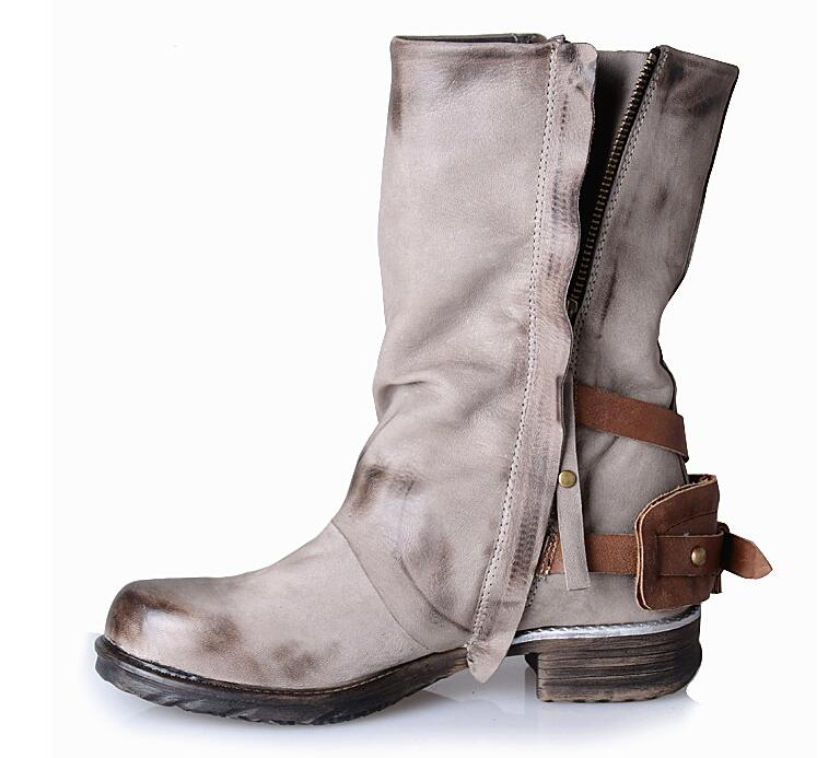 Prova Perfetto 2017 Winter Boots Women Do Old Leather Inner Fur Warm Bota Buckle Fashion Mid-calf Motorcycle Boots Large Size