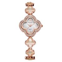 WEIQIN Nacre Dial Flower Rose Gold Dress Quartz Women Watch Top Brand Rhinestone Fashion Bracelet Wahch