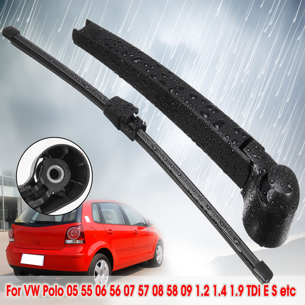 325mm Car Rear Windscreen Wipers Wiper Arm Blade For VW Polo 2005 55 2006 56 2007 57 2008 58 2009 1.2 1.4 1.9 TDi E S