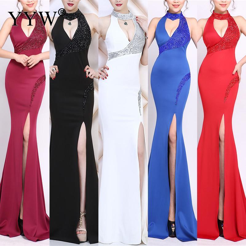 2019 robes de soirée élégantes mode femmes à la main perles Banquet robe Bling Noble mince haute Split Sexy Club nuit Vestidos